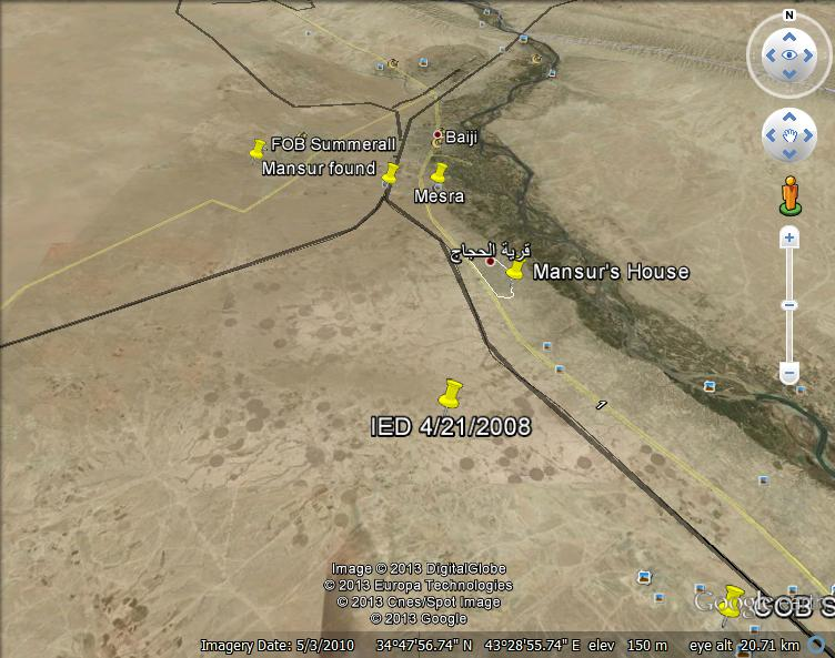 "1.5 inches = approximately 5 miles. ""FOB Summerall"" refers to Behenna's base. ""Mansur found"" refers to the culvert. ""Mesra"" is an Army check point. The red dot above ""Mansur's house"" is Albu Toma."