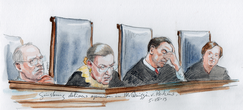Justice Giinsburg delivers opinion. L to R : Kennedy, Ginsburg, Alito, Kagan (Art Lien)