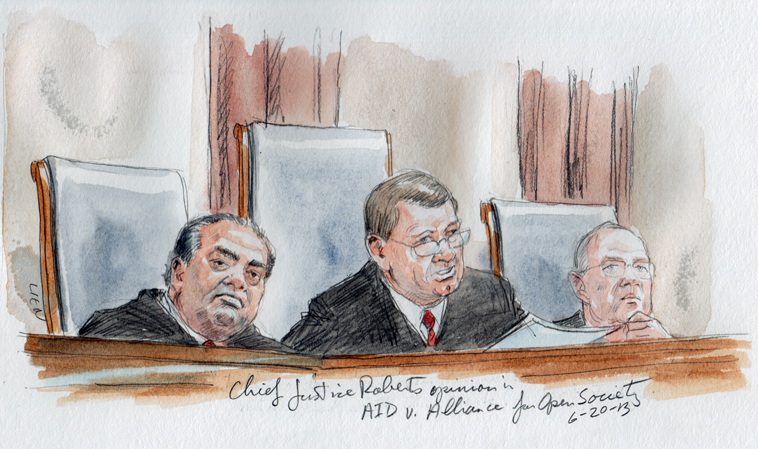 Chief Justice Roberts announces the opinion (Art Lien)