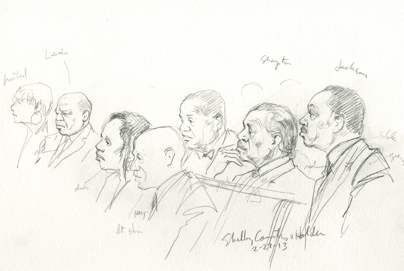 Notables of the civil rights movement seated in the Supreme Court to hear challenge to Section V of the Voting Rights Act include John Lewis, Al Sharpton and Jesse Jackson. (Art Lien)