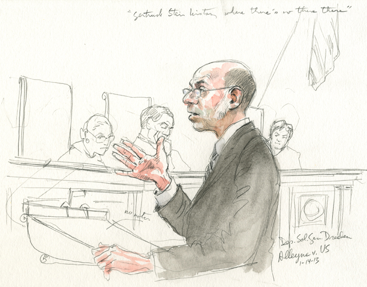 Deputy Solicitor General Michael R. Dreeben arguing the case for the U.S. (Art Lien)