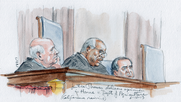 Thomas, J. delivers California raisins opinion flanked by Breyer, J. (L) and Scalia, J. (Art Lien)