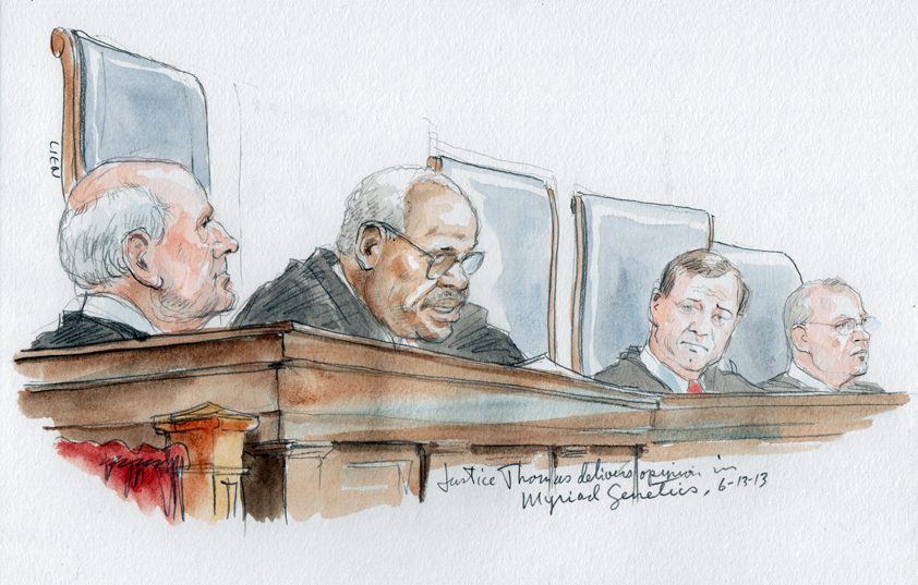Justice Thomas delivers opinion of Court. L-R: Breyer, Thomas, Roberts & Kennedy (art Lien)