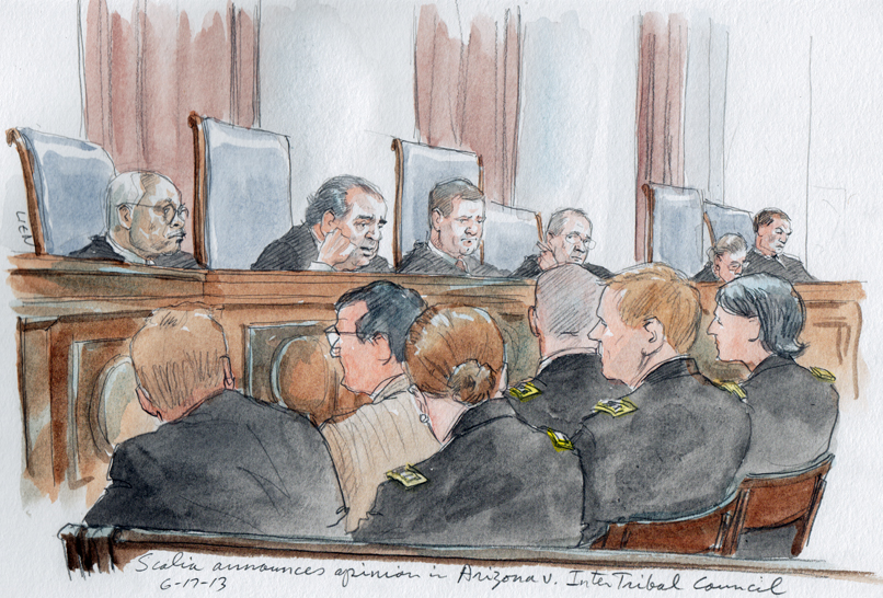Justice Scalia announces the opinion this morning (Art Line)