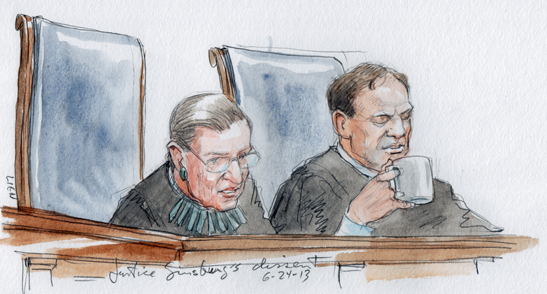 Justice Ginsburg reads from her dissent in Fisher v. U. of Texas (Art Lien)