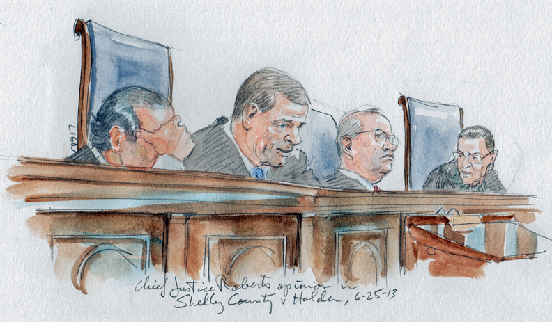 Chief Justice Roberts announces the opinion in Shelby County v Holder, 12-96 (Art Lien)