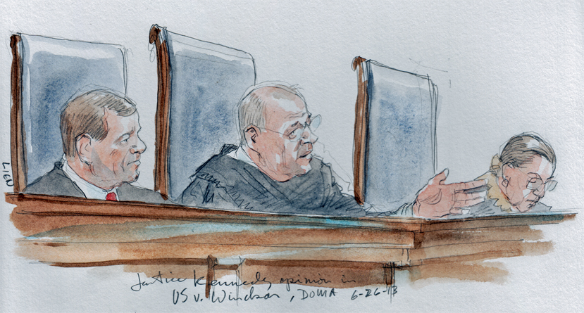 Justice Kennedy announces DOMA opinion (Art Lien)