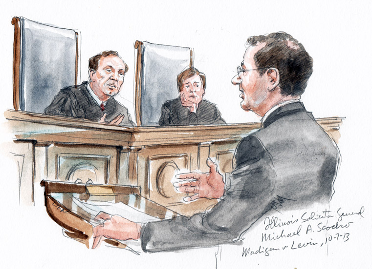 Illinois Solicitor General Michael A. Scodro arguing (Art Lien)
