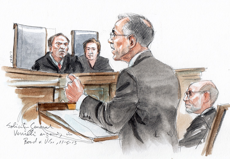 Solicitor General Donald Verrilli arguing (Art Lien)