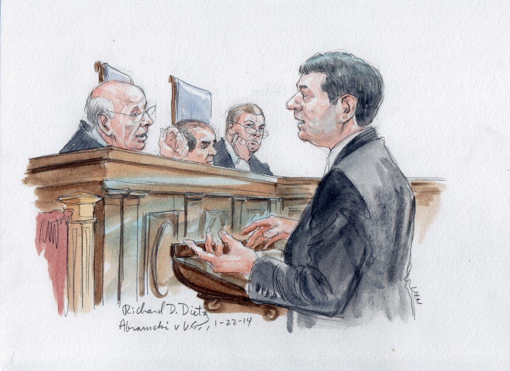 "Justice Breyer explains origin of ""Straw Man"" term to petitioner's lawyer, Richard D. Dietz (Art Lien)"