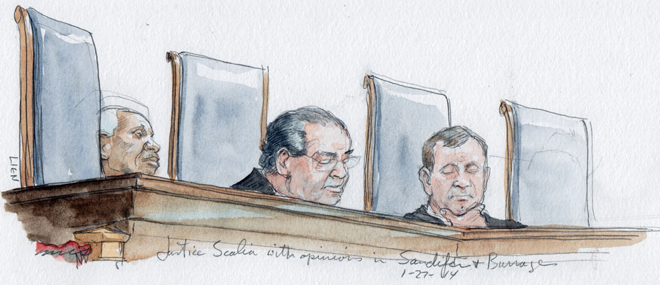Justice Scalia delivers opinions this morning. (Art Lien)
