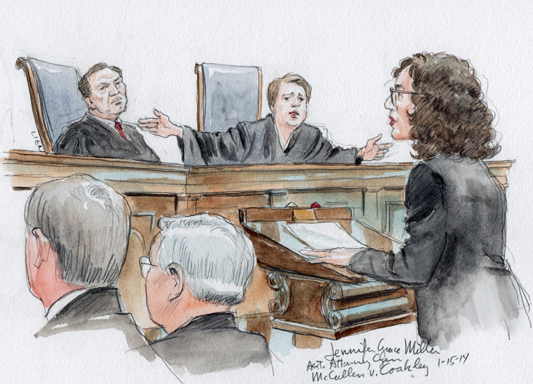 Assistant Attorney General Jennifer Grace Miller for respondent, Attny. Gen. of Mass. (Note Justice Kagan with arms outstretched comparing courtroom to 35 ft buffer around clinics) (Art Lien)