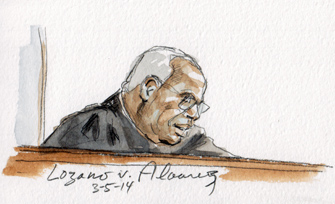 Justice Thomas announcing the opinion (Art Lien)