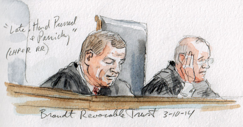Chief Justice Roberts announces opinion, Kennedy in background (Art Lien)