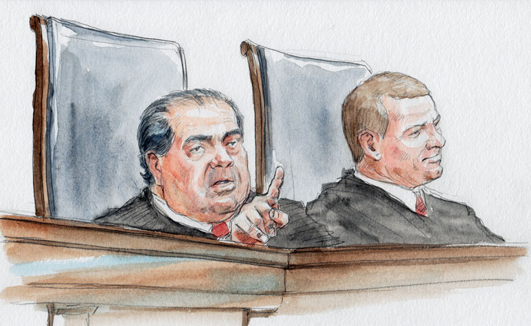 Justice Scalia at oral argument (Art Lien)