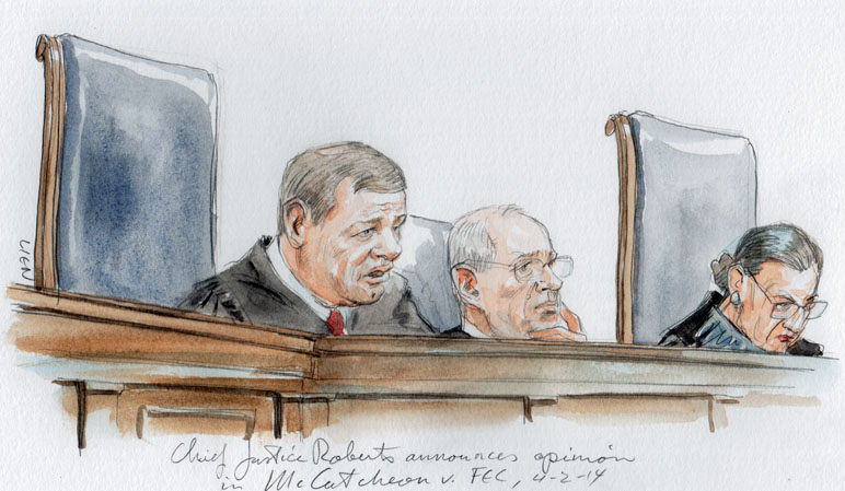 Chief Justice Roberts announces opinion in McCutcheon (Art Lien)