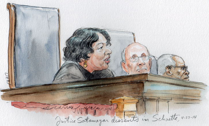 Justice Sotomayor dissents in Schuette. (Art Lien)