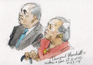 Thurgood Marshall's son and widow seated in courtroom as opinion in Schuette is announced. (Art Lien)