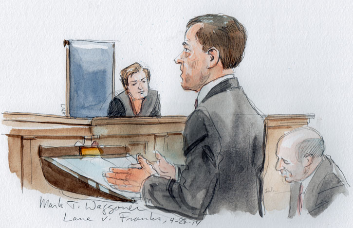 Mark T. Waggoner arguing for respondent Steve Franks. (Art Lien)