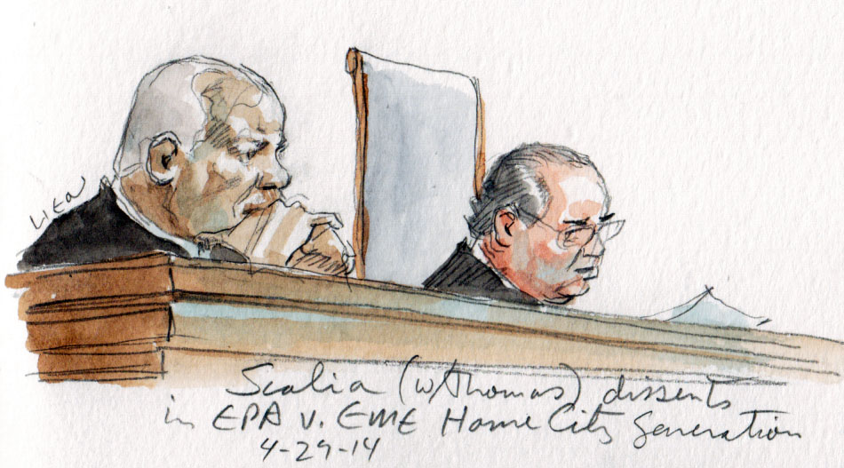 Justice Scalia announces his dissent, joined by Thomas, from the bench. (Art Lien)
