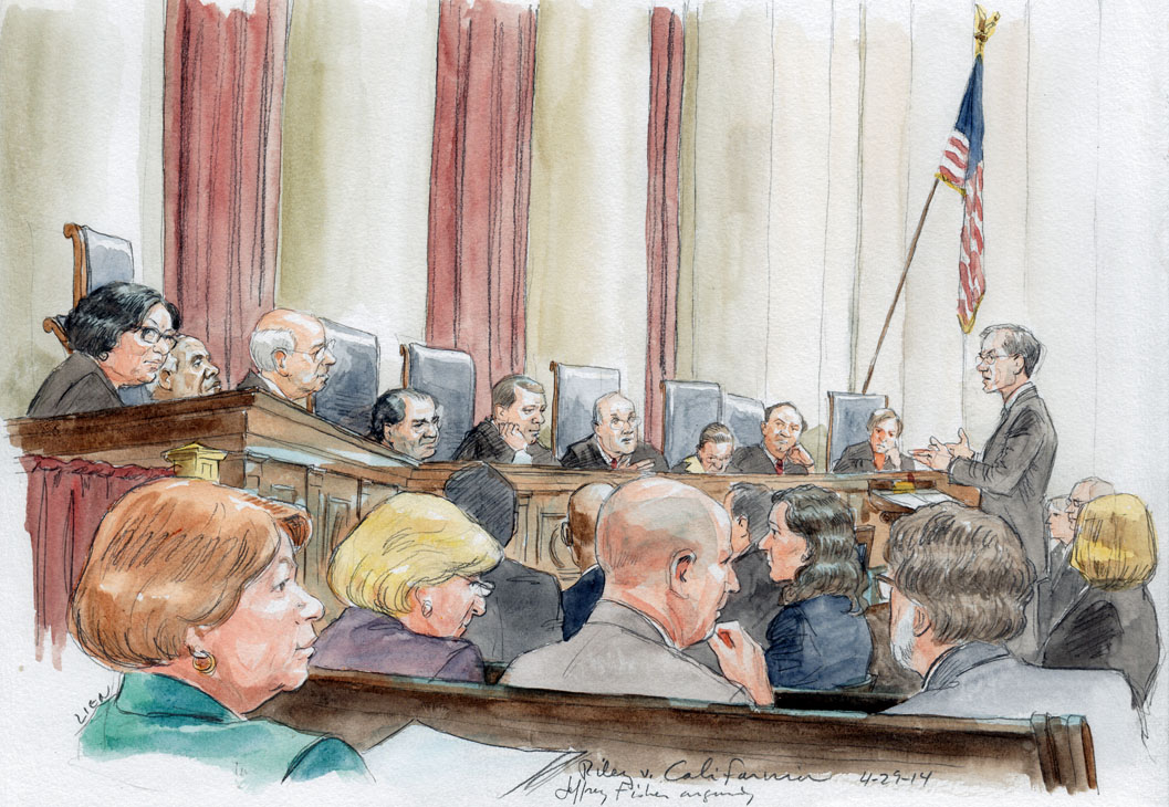 Jeffrey Fisher arguing for petitioner in Fourth Amendment cell phone case. (Art Lien)