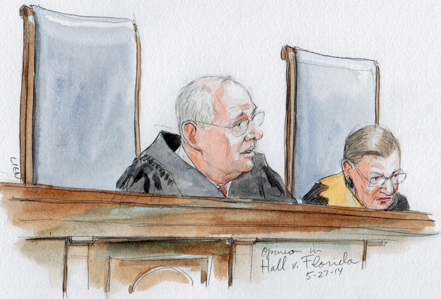 Justice Kennedy announces opinion on use of IQ scores in death sentence. (Art Lien)