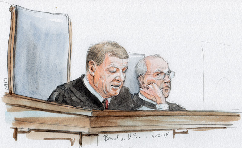 Chief Justice Roberts announces opinion in Bond v. U.S. (Art Lien)