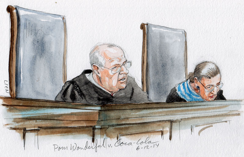 Justice Kennedy announces opinion in POM Wonderful. (Art Lien)