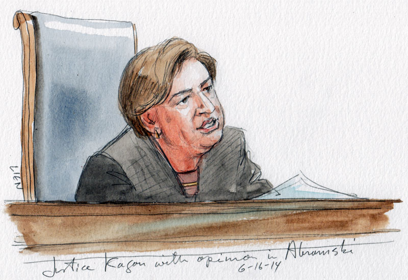 Justice Kagan with opinion in firearm straw purchaser case. (Art Lien)