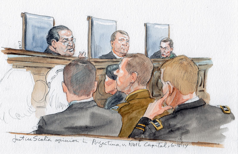 Justice Scalia with opinion in Argentina v. NML Capital. Justice Ginsburg, shown on right, dissented. (Art Lien)
