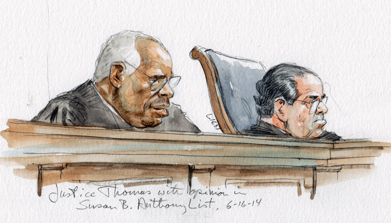 Justice Thomas announces opinion in Susan B. Anthony List v. Driehaus (Art Lien)
