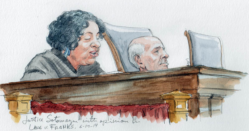 Justice Sotomayor with the opinion in Lane v. Franks (Art Lien)