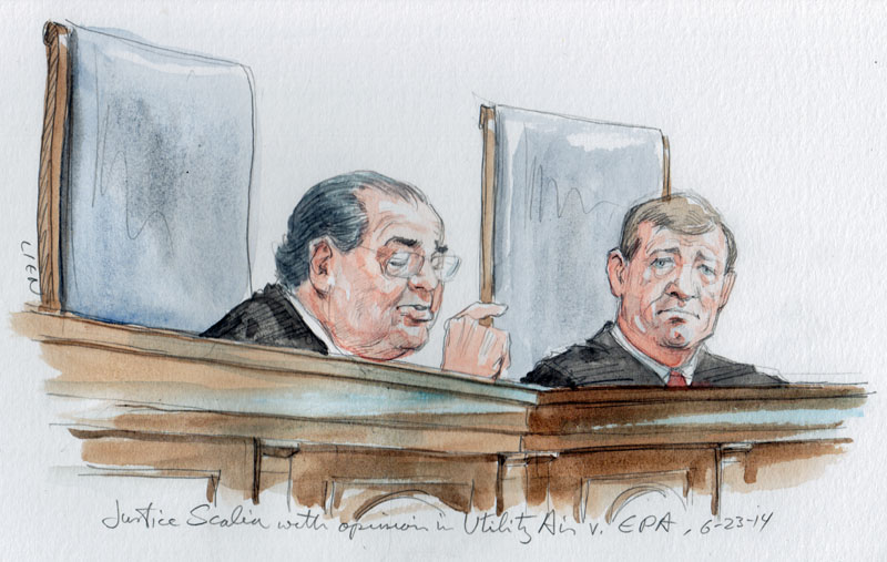 Justice Scalia announces opinion in Utility Air v. EPA.