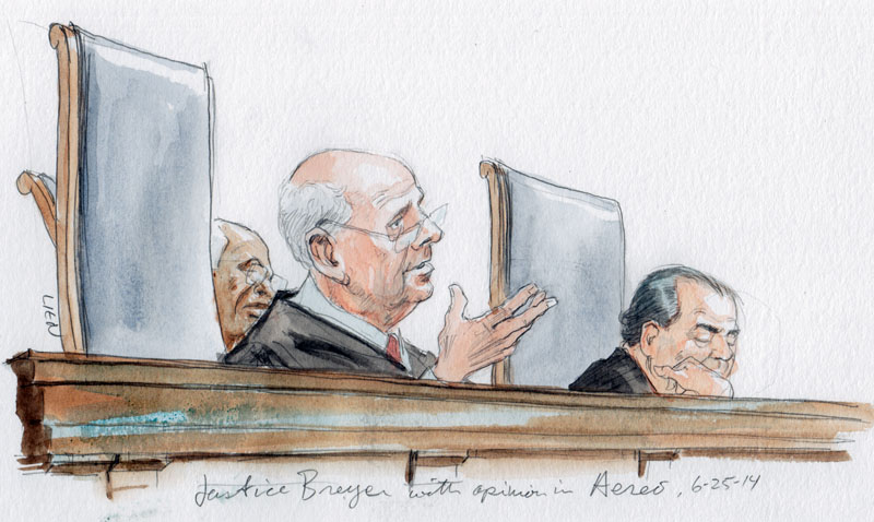 Justice Breyer announces opinion in Aereo. (Art Lien)