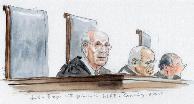 Justice Breyer with opinion of the Court on recess appointments. (Art Lien)