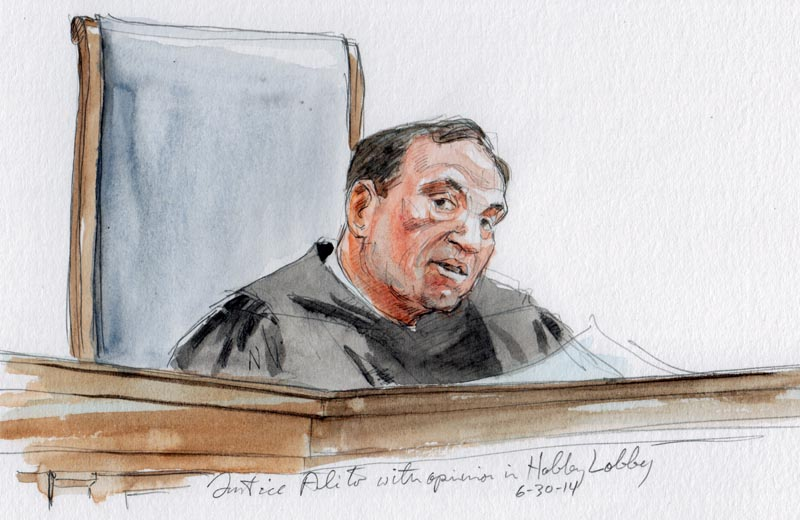 Justice Alito announces opinion in Hobby Lobby (Art Lien)