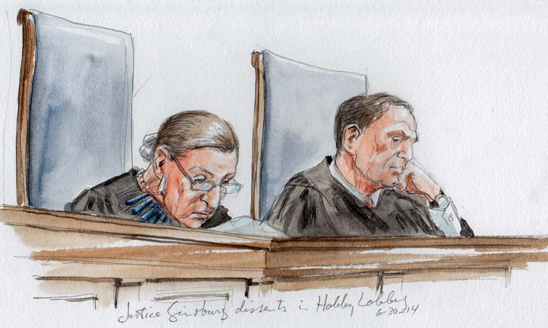 Justice Ginsburg with dissent in Hobby Lobby. (Art Lien)