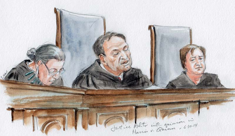 Justice Alito with opinion in Harris v. Quinn. (Art Lien)