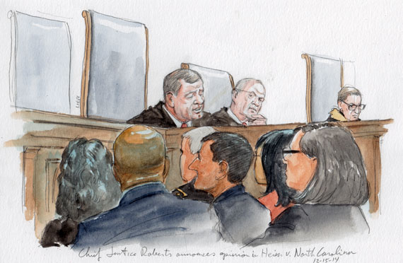 Chief Justice Roberts announcing the opinion.  (Art Lien)