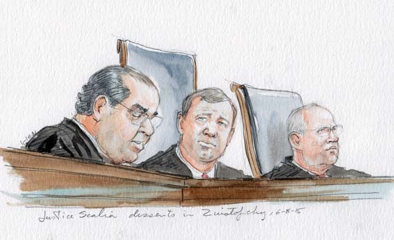 Justice Scalia dissents in Zivotofsky (Art Lien)