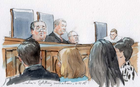 Justice Scalia accidentally calls Ginsburg Goldberg while delivering opinion in Kerry v Din (Art Lien)