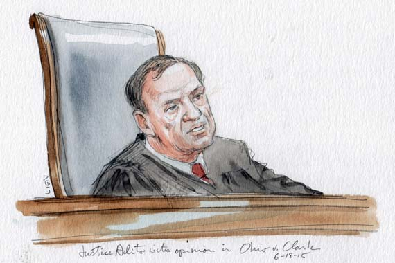 Justice Alito delivers the opinion in Ohio v. Clark (Art Lien)