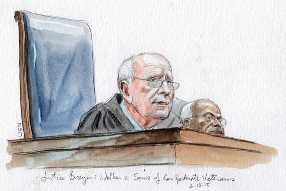 Justice Breyer delivers the opinion in Walker v Sons of Confederate Veterans (Art Lien)