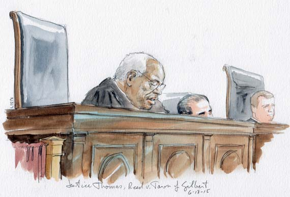 Justice Thomas delivers the opinion in Reed v. Town of Gilbert (Art Lien)