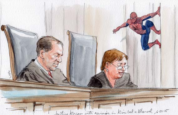Justice Kagan announcing the opinion (w/ Spiderman) (Art Lien)