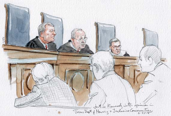 Justice Kennedy with opinion of the Court (Art Lien)