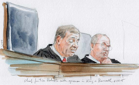 Chief Justice Roberts announces Obamacare opinion (Art Lien)