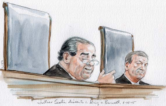 "Scalia dissents: ""SCOTUScare"" (Art Lien)"