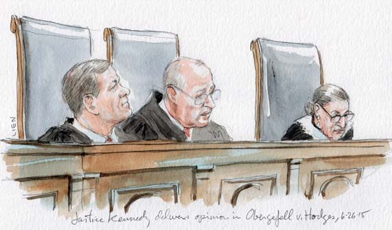 Justice Kennedy delivers opinion in same sex marriage (Art Lien)