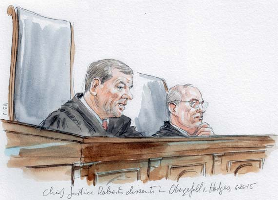 Chief Justice Roberts dissents on same sex marriage (Art Lien)